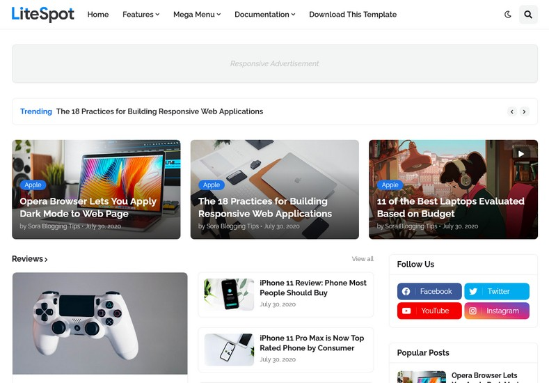 LiteSpot Blogger Template is a professional and SEO-friendly Blogspot theme and it is best for creating news sites, magazines, newspapers, and such other niches.