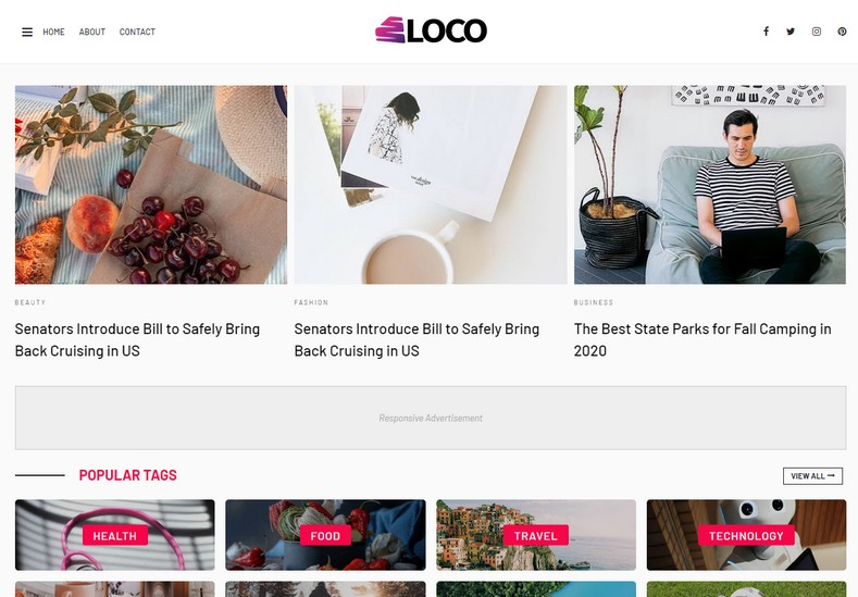 Loco Blogger Template is an attractive and eye-catching blog for health, inspiration, sports, travel, lifestyle, technology, and nature then this blogger theme is going to be your right choice.