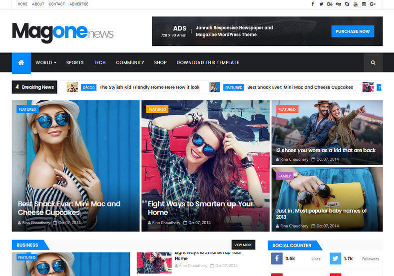 MagOne Responsive Blogger Template is best blogger theme of 2017 under responsive category and browser compatibility design