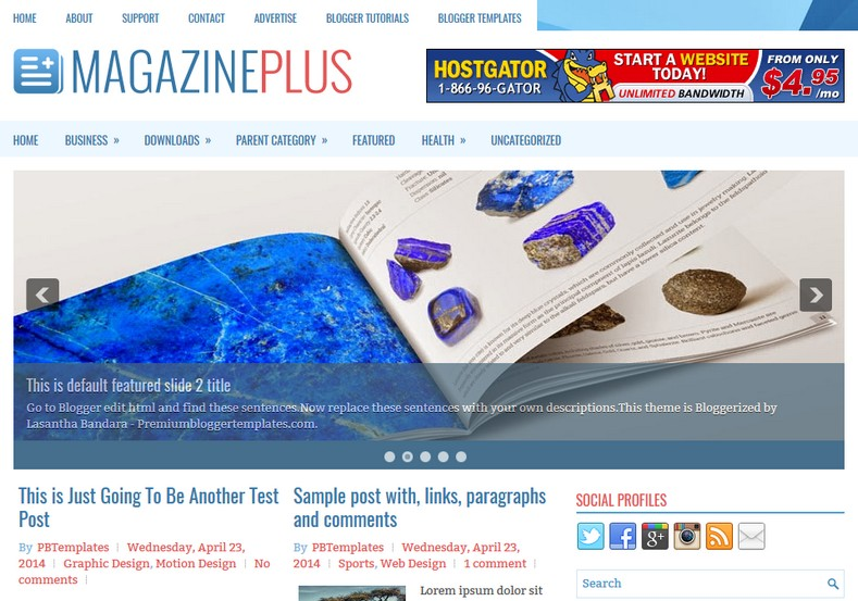 MagazinePlus Blogger Template. Blogger Themes. Best suitable for news blog templates. Ads ready blogspot templates help for add adsense ad code and easily showing adsence ads in your blog. Adapted from WordPress templates are converted from WordPress themes. It is help for take your rich. Blogger magazine template specially designed for magazine blogs. The writers can utilize this themes for take blog attractive to users. Elegant themes are more used themes in most of the blogs. Minimalist blog templates. Free premium blogger themes means, themes authors release two types of themes. One is premium another one is free. Premium templates given for cost but free themes given for no cost. You no need pay From California, USA. $10 USD, or $20 USD and more. But premium buyers get more facilities from authors But free buyers. If you run game or other animation oriented blogs, and you can try with Anime blog templates. Today the world is fashion world. So girls involve to the criteria for make their life fashionable. So we provide fashion blogger themes for make your fashionable. News is most important concept of the world. Download news blogger templates for publishing online news. You can make your blog as online shopping store. Get Online shopping store blogger template to sell your product. Navigation is most important to users find correct place. Download drop down menu, page navigation menu, breadcrumb navigation menu and vertical dropdown menu blogspot themes for free. Google Guide. Blogging tips and Tricks for bloggers. Google bloggers can get blogspot trick and tips for bloggers. Blog templates portfolio professional blogspot themes, You can store your life moments with your blogs with personal pages templates. Video and movie blogs owners get amazing movie blog themes for their blogs.  Business templates download. We publish blogger themes for photographers.  Photographers easily share photos via photography blog themes. St valentine Christmas Halloween templates. Download Slideshow slider templates for free.  Under construction coming soon custom blogspot template. Best beautiful high quality Custom layouts Blog templates from templateism, soratemplates, templatetrackers, simple, cute free premium professional unique designs blog themes blogspot themes. Seo ready portfolio anime fashion movie movies health custom layouts best download blogspot themes simple cute free premium professional unique designs xml html code html5.