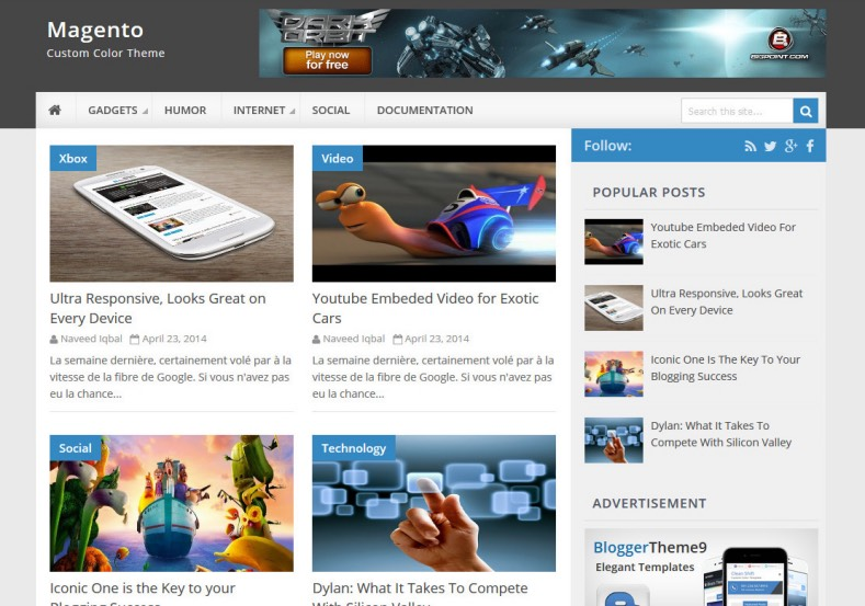 Magento Blogger Template. Free blogger templates 2017 comes with best design and blogger layout for blogger and blogspot blogging blog. Download free Magento Blogger Template.