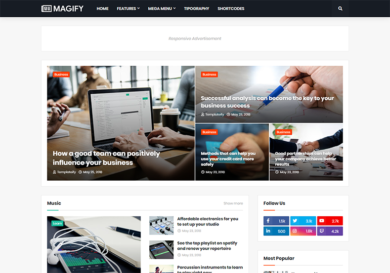 Magify Blogger Template is one of the best beautifully handcrafted and perfectly optimized latest blogspot theme with all the latest features.