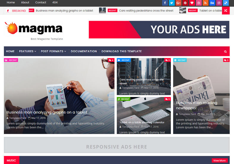 Magma News Responsive Blogger Template is one of the best fast loading magazine blogger template of 2017