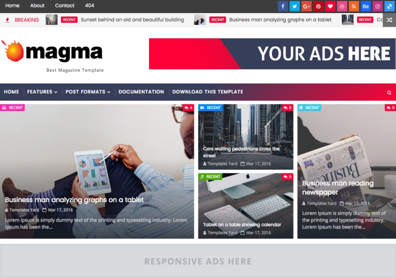 Magma News Responsive Blogger Template designed for news and magazine blogspot blogs Magma News Responsive Blogger Template