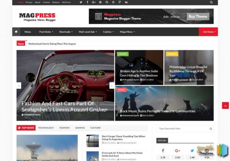 Magpress Blogger Template. Best multiple layout blogger themes to buy Magpress Blogger Template