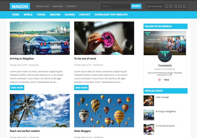 Magzon Blogger Template premium blogger template