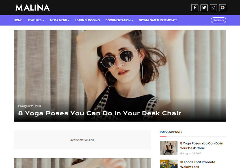 Malina Blogger Template is elegantly looking responsive premium and professionally designed personal latest and unique blogging blogspot theme.