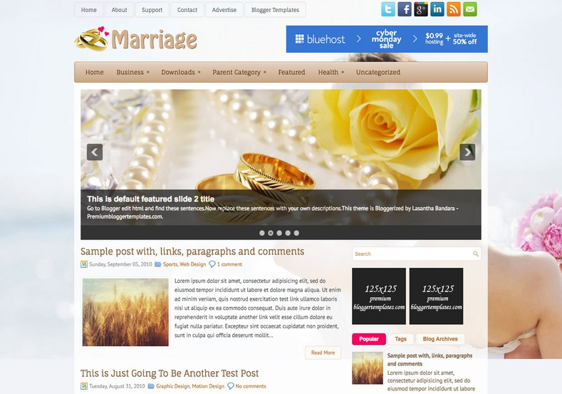 Marriage Wedding Blogger Template. Blogger Themes. Free Blogspot templates for your blogger blog. Best suitable for news blog templates. Ads ready blogspot templates help for add adsense ad code and easily showing adsence ads in your blog. Adapted from WordPress templates are converted from WordPress themes. It is help for take your rich. Blogger magazine template specially designed for magazine blogs. The writers can utilize this themes for take blog attractive to users. Elegant themes are more used themes in most of the blogs. Use minimalist blog templates for rich look for your blog. Free premium blogger themes means, themes authors release two types of themes. One is premium another one is free. Premium templates given for cost but free themes given for no cost. You no need pay From California, USA. $10 USD, or $20 USD and more. But premium buyers get more facilities from authors But free buyers. If you run game or other animation oriented blogs, and you can try with Anime blog templates. Today the world is fashion world. So girls involve to the criteria for make their life fashionable. So we provide fashion blogger themes for make your fashionable. News is most important concept of the world. Download news blogger templates for publishing online news. You can make your blog as online shopping store. Get Online shopping store blogger template to sell your product. Navigation is most important to users find correct place. Download drop down menu, page navigation menu, breadcrumb navigation menu and vertical dropdown menu blogspot themes for free. Google Guide to blogging tips and tricks for bloggers. Google bloggers can get blogspot trick and tips for bloggers. Blog templates portfolio professional blogspot themes, You can store your life moments with your blogs with personal pages templates. Video and movie blogs owners get amazing movie blog themes for their blogs. Business templates download. We publish blogger themes for photographers. Photographers easily share photos via photography blog themes. St valentine Christmas Halloween templates. Download Slideshow slider templates for free. Under construction coming soon custom blogspot template. Best beautiful high quality Custom layouts Blog templates from templateism, SoraTemplates, templatetrackers, simple, cute free premium professional unique designs blog themes blogspot themes. Seo ready portfolio anime fashion movie movies health custom layouts best download blogspot themes simple cute free premium professional unique designs xml html code html5.