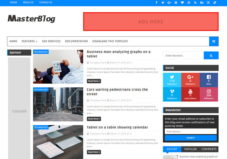 Master Blog Blogger Template is a 3 column responsive theme with clean and fast loading features with an added advantange of right and left sidebar