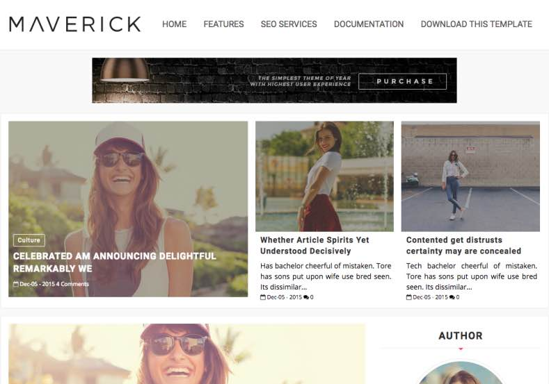 Maverick Clean Blogger Template is clean and pin colored Blogspot theme Maverick Clean Blogger Template