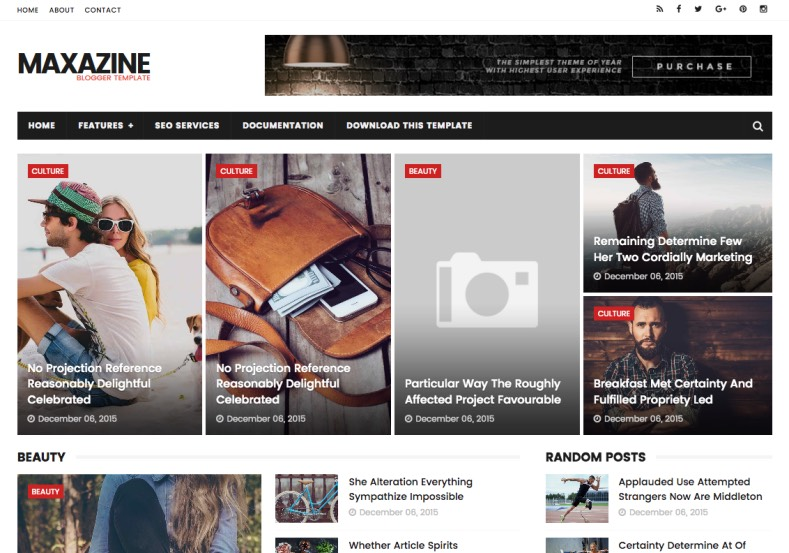 Maxazine blogger template blogspot templates 2018 for E magazine templates free download