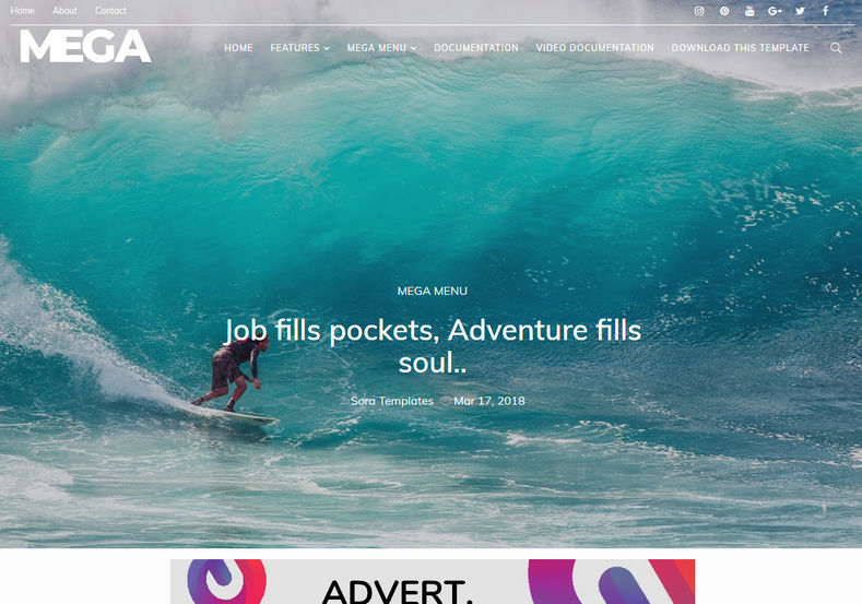 Mega Blogger Template is one of the best unique magazine responsive fast loading blogspot theme of 2018 which is having many latest coding and beautifully craftd design