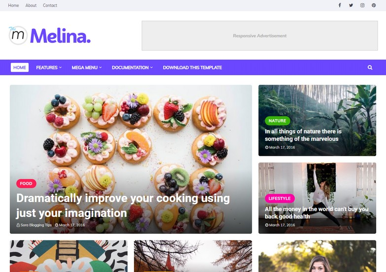 Melina Blogger Template is a feature loaded minimal looking fashion magazine theme with updated design and attractive looks.