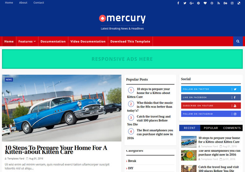 Mercury Blogger Template is a best blogspot template of 2018 specially made for news blog and magazine lovers blogger themes with whatsapp sharing features