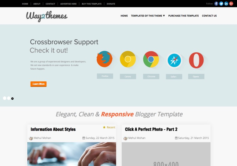 Mini T Responsive Blogger Template. Blogger Themes. Free Blogspot templates for your blogger blog. Best suitable for news blog templates. Best Ads ready blogspot templates help for add adsense ad code and easily showing adsence ads in your blog. Adapted from WordPress templates are converted from WordPress themes. It is help for take your rich. Blogger magazine template specially designed for magazine blogs. The writers can utilize this themes for take blog attractive to users. Elegant themes are more used themes in most of the blogs. Use minimalist blog templates for rich look for your blog. Free premium blogger themes means, themes authors release two types of themes. One is premium another one is free. Premium templates given for cost but free themes given for no cost. You no need pay From California, USA. $10 USD, or $20 USD and more. But premium buyers get more facilities from authors But free buyers. If you run game or other animation oriented blogs, and you can try with Anime blog templates. Today the world is fashion world. So girls involve to the criteria for make their life fashionable. So we provide fashion blogger themes for make your fashionable. News is most important concept of the world. Download news blogger templates for publishing online news. You can make your blog as online shopping store. Get Online shopping store blogger template to sell your product. Navigation is most important to users find correct place. Download drop down menu, page navigation menu, breadcrumb navigation menu and vertical dropdown menu blogspot themes for free. Google Guide to blogging tips and tricks for bloggers. Google bloggers can get blogspot trick and tips for bloggers. Blog templates portfolio professional blogspot themes, You can store your life moments with your blogs with personal pages templates. Video and movie blogs owners get amazing movie blog themes for their blogs. Business templates download. We publish blogger themes for photographers. Photographers eas