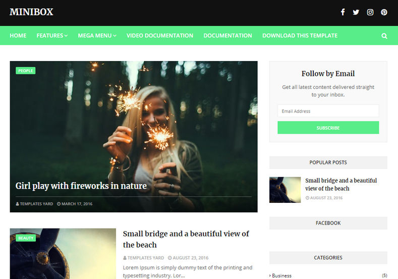 MiniBox Blogger Template is a highly responsive free blogger theme with faster loading speed and seo friendly clean coded layout