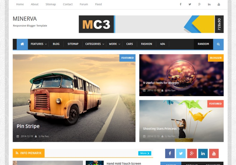 Minima Colored 3 Mag Blogger Template. Blogger Themes. Free Blogspot templates for your blogger blog. Best suitable for news blog templates
