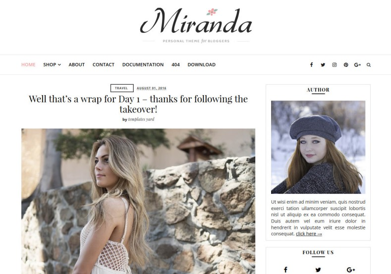 Miranda Blogger Template. Best and high quality blogger templates 2017 with specially designed for blogs about feminist. Girls and fashion oriended blogs can use Miranda Blogger Template