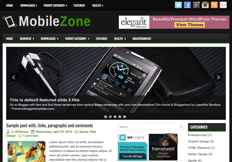 MobileZone Blogger Template. Blogger Themes. Free Blogspot templates for your blogger blog. Best suitable for news blog templates. Best Ads ready blogspot templates help for add adsense ad code and easily showing adsence ads in your blog. Adapted from WordPress templates are converted from WordPress themes. It is help for take your rich. Blogger magazine template specially designed for magazine blogs. The writers can utilize this themes for take blog attractive to users. Elegant themes are more used themes in most of the blogs. Use minimalist blog templates for rich look for your blog. Free premium blogger themes means, themes authors release two types of themes. One is premium another one is free. Premium templates given for cost but free themes given for no cost. You no need pay From California, USA. $10 USD, or $20 USD and more. But premium buyers get more facilities from authors But free buyers. If you run game or other animation oriented blogs, and you can try with Anime blog templates. Today the world is fashion world. So girls involve to the criteria for make their life fashionable. So we provide fashion blogger themes for make your fashionable. News is most important concept of the world. Download news blogger templates for publishing online news. You can make your blog as online shopping store. Get Online shopping store blogger template to sell your product. Navigation is most important to users find correct place. Download drop down menu, page navigation menu, breadcrumb navigation menu and vertical dropdown menu blogspot themes for free. Google Guide to blogging tips and tricks for bloggers. Google bloggers can get blogspot trick and tips for bloggers. Blog templates portfolio professional blogspot themes, You can store your life moments with your blogs with personal pages templates. Video and movie blogs owners get amazing movie blog themes for their blogs. Business templates download. We publish blogger themes for photographers. Photographers easily share photos via photography blog themes. St valentine Christmas Halloween templates. Download Slideshow slider templates for free. Under construction coming soon custom blogspot template. Best beautiful high quality Custom layouts Blog templates from templateism, soratemplates, templatetrackers, simple, cute free premium professional unique designs blog themes blogspot themes. Seo ready portfolio anime fashion movie movies health custom layouts best download blogspot themes simple cute free premium professional unique designs xml html code html5. MobileZone Blogger Template