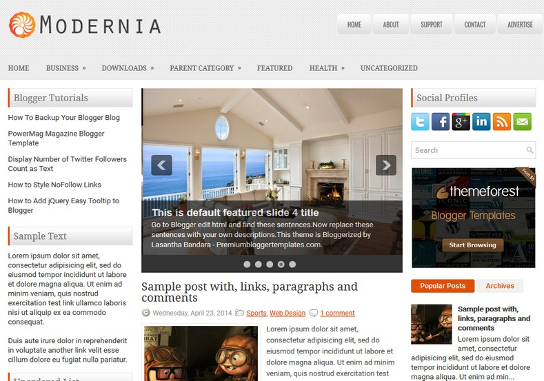 Modernia Blogger Template free download 2018