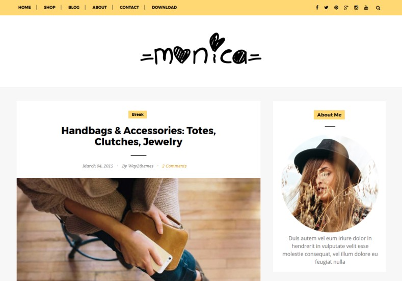 Monica Clean Blogger Template free and new fashion and girl lifestyle Monica Clean Blogger Template 2017