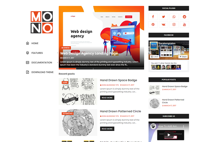 Mono Blogger Template is a simple and clean 3 column blogging blogspot theme with responsive design and fast loading speed