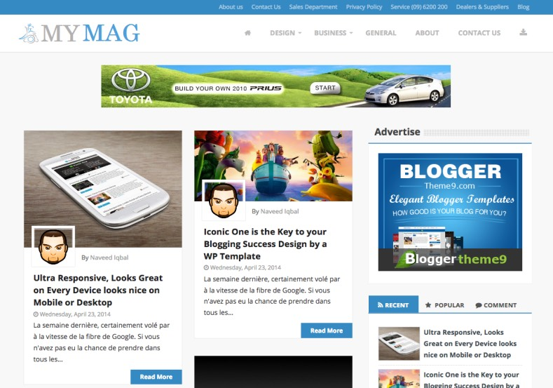 My Mag Responsive Blogger Template. Blogger Themes. Free Blogspot templates for your blogger blog. Best suitable for news blog templates. Best Ads ready blogspot templates help for add adsense ad code and easily showing adsence ads in your blog. Adapted from WordPress templates are converted from WordPress themes. It is help for take your rich. Blogger magazine template specially designed for magazine blogs. The writers can utilize this themes for take blog attractive to users. Elegant themes are more used themes in most of the blogs. Use minimalist blog templates for rich look for your blog. Free premium blogger themes means, themes authors release two types of themes. One is premium another one is free. Premium templates given for cost but free themes given for no cost. You no need pay From California, USA. $10 USD, or $20 USD and more. But premium buyers get more facilities from authors But free buyers. If you run game or other animation oriented blogs, and you can try with Anime blog templates. Today the world is fashion world. So girls involve to the criteria for make their life fashionable. So we provide fashion blogger themes for make your fashionable. News is most important concept of the world. Download news blogger templates for publishing online news. You can make your blog as online shopping store. Get Online shopping store blogger template to sell your product. Navigation is most important to users find correct place. Download drop down menu, page navigation menu, breadcrumb navigation menu and vertical dropdown menu blogspot themes for free. Google Guide to blogging tips and tricks for bloggers. Google bloggers can get blogspot trick and tips for bloggers. Blog templates portfolio professional blogspot themes, You can store your life moments with your blogs with personal pages templates. Video and movie blogs owners get amazing movie blog themes for their blogs. Business templates download. We publish blogger themes for photographers. Photographers easily share photos via photography blog themes. St valentine Christmas Halloween templates. Download Slideshow slider templates for free. Under construction coming soon custom blogspot template. Best beautiful high quality Custom layouts Blog templates from templateism, SoraTemplates, templatetrackers, simple, cute free premium professional unique designs blog themes blogspot themes. Seo ready portfolio anime fashion movie movies health custom layouts best download blogspot themes simple cute free premium professional unique designs xml html code html5.