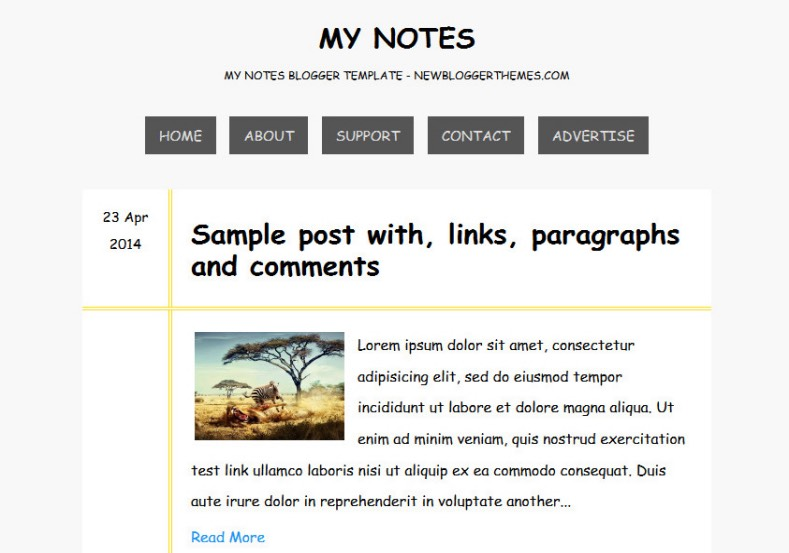 My Notes Blogger Template simple personal diary