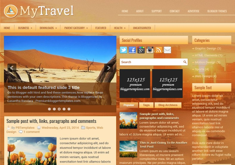 MyTravel 3 columns Blogger Template. Blogger Themes. Free Blogspot templates for your blogger blog. Best suitable for news blog templates. Ads ready blogspot templates help for add adsense ad code and easily showing adsence ads in your blog. Adapted from WordPress templates are converted from WordPress themes. It is help for take your rich. Blogger magazine template specially designed for magazine blogs. The writers can utilize this themes for take blog attractive to users. Elegant themes are more used themes in most of the blogs. Use minimalist blog templates for rich look for your blog. Free premium blogger themes means, themes authors release two types of themes. One is premium another one is free. Premium templates given for cost but free themes given for no cost. You no need pay From California, USA. $10 USD, or $20 USD and more. But premium buyers get more facilities from authors But free buyers. If you run game or other animation oriented blogs, and you can try with Anime blog templates. Today the world is fashion world. So girls involve to the criteria for make their life fashionable. So we provide fashion blogger themes for make your fashionable. News is most important concept of the world. Download news blogger templates for publishing online news. You can make your blog as online shopping store. Get Online shopping store blogger template to sell your product. Navigation is most important to users find correct place. Download drop down menu, page navigation menu, breadcrumb navigation menu and vertical dropdown menu blogspot themes for free. Google Guide. Blogging tips and Tricks for bloggers. Google bloggers can get blogspot trick and tips for bloggers. Blog templates portfolio professional blogspot themes, You can store your life moments with your blogs with personal pages templates. Video and movie blogs owners get amazing movie blog themes for their blogs. Business templates download. We publish blogger themes for photographers. Photographers easily share photos via photography blog themes. St valentine Christmas Halloween templates. Download Slideshow slider templates for free. Under construction coming soon custom blogspot template. Best beautiful high quality Custom layouts Blog templates from templateism, SoraTemplates, templatetrackers, simple, cute free premium professional unique designs blog themes blogspot themes. Seo ready portfolio anime fashion movie movies health custom layouts best download blogspot themes simple cute free premium professional unique designs xml html code html5.