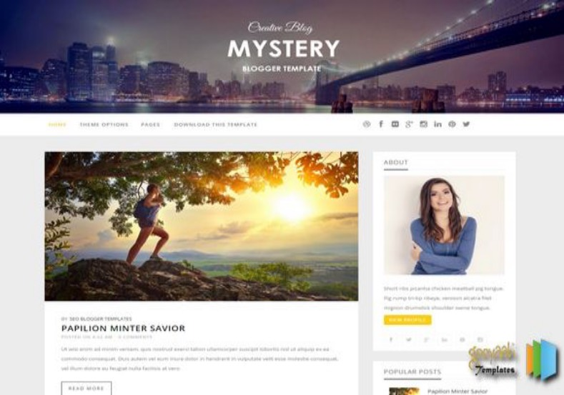 Mystery Responsive Blogger Template. Blogger Themes. Free Blogspot templates for your blogger blog. Best suitable for news blog templates. Ads ready blogspot templates help for add adsense ad code and easily showing adsence ads in your blog. Adapted from WordPress templates are converted from WordPress themes. It is help for take your rich. Blogger magazine template specially designed for magazine blogs. The writers can utilize this themes for take blog attractive to users. Elegant themes are more used themes in most of the blogs. Use minimalist blog templates for rich look for your blog. Free premium blogger themes means, themes authors release two types of themes. One is premium another one is free. Premium templates given for cost but free themes given for no cost. You no need pay From California, USA. $10 USD, or $20 USD and more. But premium buyers get more facilities from authors But free buyers. If you run game or other animation oriented blogs, and you can try with Anime blog templates. Today the world is fashion world. So girls involve to the criteria for make their life fashionable. So we provide fashion blogger themes for make your fashionable. News is most important concept of the world. Download news blogger templates for publishing online news. You can make your blog as online shopping store. Get Online shopping store blogger template to sell your product. Navigation is most important to users find correct place. Download drop down menu, page navigation menu, breadcrumb navigation menu and vertical dropdown menu blogspot themes for free. Google Guide to blogging tips and tricks for bloggers. Google bloggers can get blogspot trick and tips for bloggers. Blog templates portfolio professional blogspot themes, You can store your life moments with your blogs with personal pages templates. Video and movie blogs owners get amazing movie blog themes for their blogs. Business templates download. We publish blogger themes for photographers. Photographers easily share photos via photography blog themes. St valentine Christmas Halloween templates. Download Slideshow slider templates for free. Under construction coming soon custom blogspot template. Best beautiful high quality Custom layouts Blog templates from templateism, soratemplates, templatetrackers, simple, cute free premium professional unique designs blog themes blogspot themes. Seo ready portfolio anime fashion movie movies health custom layouts best download blogspot themes simple cute free premium professional unique designs xml html code html5.