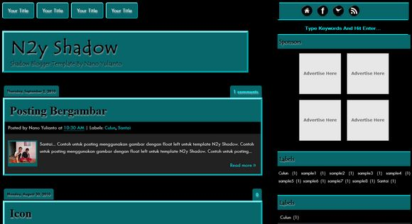 N2y Shadow blogger template. Free Blogger templates. Blog templates ...