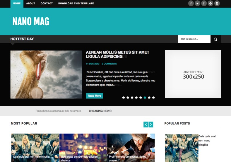 Nano Mag Blogger Template. Blogspot themes free download