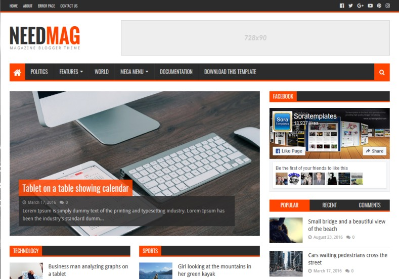 Need Mag Blogger Template Free Templates 2016 Magazine With Ads Ready You