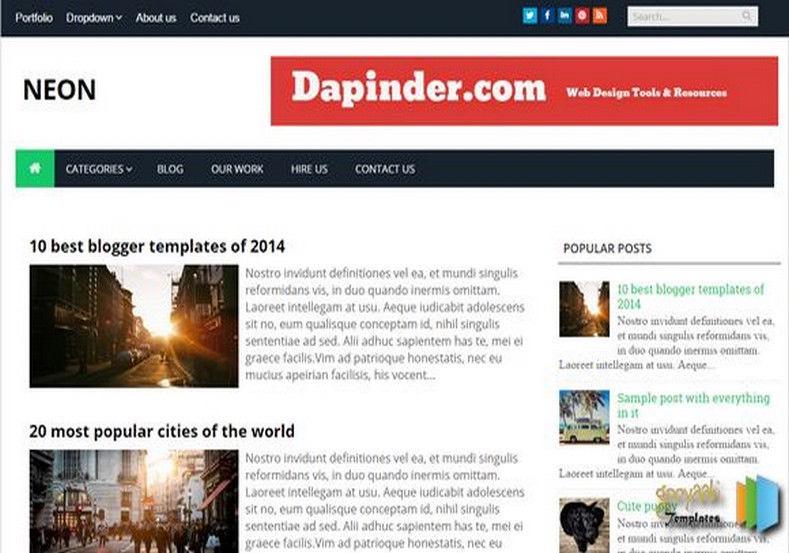Neon Blogger Template free reposnive templates