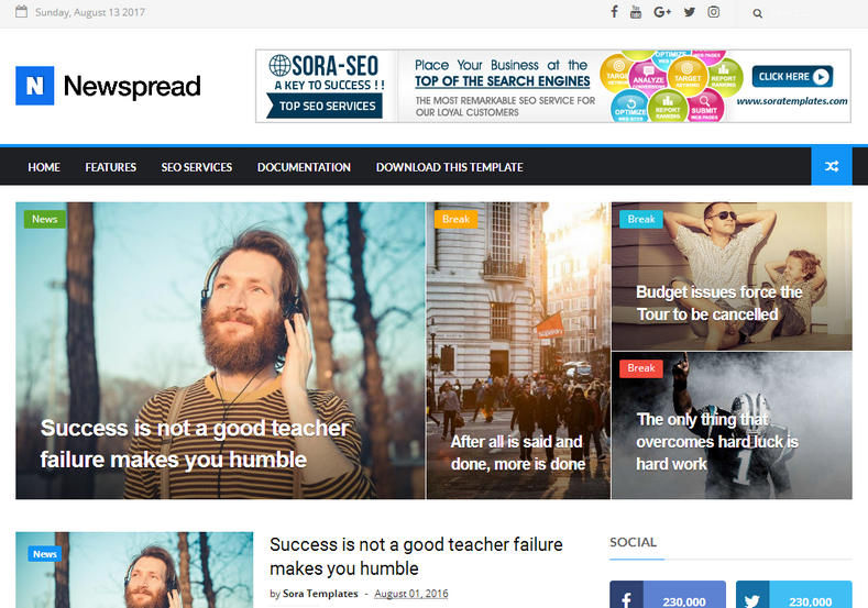 New Spread Blogger Template is a best modern and stylish responsive magazine blogger template with latest features