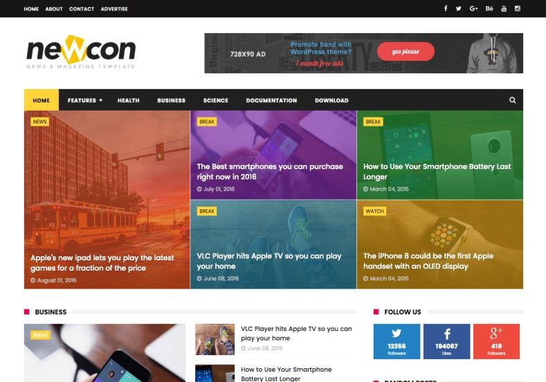 NewCon Magazine Free Blogger Template