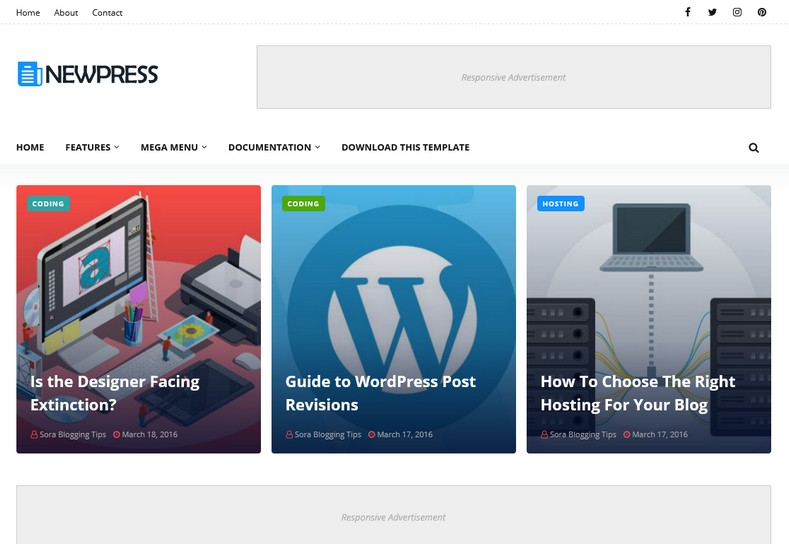 NewPress Blogger Template is a clean and simple-looking blogging theme with appealing design and attractive looks.