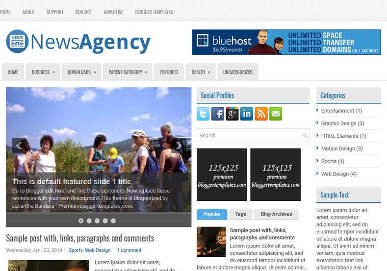 NewsAgency Blogger Template. Blogger Themes. Free Blogspot templates for your blogger blog. Best suitable for news blog templates. Ads ready blogspot templates help for add adsense ad code and easily showing adsence ads in your blog. Adapted from WordPress templates are converted from WordPress themes. It is help for take your rich. Blogger magazine template specially designed for magazine blogs. The writers can utilize this themes for take blog attractive to users. Elegant themes are more used themes in most of the blogs. Use minimalist blog templates for rich look for your blog. Free premium blogger themes means, themes authors release two types of themes. One is premium another one is free. Premium templates given for cost but free themes given for no cost. You no need pay From California, USA. $10 USD, or $20 USD and more. But premium buyers get more facilities from authors But free buyers. If you run game or other animation oriented blogs, and you can try with Anime blog templates. Today the world is fashion world. So girls involve to the criteria for make their life fashionable. So we provide fashion blogger themes for make your fashionable. News is most important concept of the world. Download news blogger templates for publishing online news. You can make your blog as online shopping store. Get Online shopping store blogger template to sell your product. Navigation is most important to users find correct place. Download drop down menu, page navigation menu, breadcrumb navigation menu and vertical dropdown menu blogspot themes for free. Google Guide to blogging tips and tricks for bloggers. Google bloggers can get blogspot trick and tips for bloggers. Blog templates portfolio professional blogspot themes, You can store your life moments with your blogs with personal pages templates. Video and movie blogs owners get amazing movie blog themes for their blogs. Business templates download. We publish blogger themes for photographers. Photographers easily share photos via photography blog themes. St valentine Christmas Halloween templates. Download Slideshow slider templates for free. Under construction coming soon custom blogspot template. Best beautiful high quality Custom layouts Blog templates from templateism, SoraTemplates, templatetrackers, simple, cute free premium professional unique designs blog themes blogspot themes. Seo ready portfolio anime fashion movie movies health custom layouts best download blogspot themes simple cute free premium professional unique designs xml html code html5.