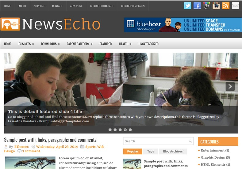 NewsEcho Blogger Template. Blogger Themes. Best suitable for news blog templates. Ads ready blogspot templates help for add adsense ad code and easily showing adsence ads in your blog. Adapted from WordPress templates are converted from WordPress themes. It is help for take your rich. Blogger magazine template specially designed for magazine blogs. The writers can utilize this themes for take blog attractive to users. Elegant themes are more used themes in most of the blogs. Minimalist blog templates. Free premium blogger themes means, themes authors release two types of themes. One is premium another one is free. Premium templates given for cost but free themes given for no cost. You no need pay From California, USA. $10 USD, or $20 USD and more. But premium buyers get more facilities from authors But free buyers. If you run game or other animation oriented blogs, and you can try with Anime blog templates. Today the world is fashion world. So girls involve to the criteria for make their life fashionable. So we provide fashion blogger themes for make your fashionable. News is most important concept of the world. Download news blogger templates for publishing online news. You can make your blog as online shopping store. Get Online shopping store blogger template to sell your product. Navigation is most important to users find correct place. Download drop down menu, page navigation menu, breadcrumb navigation menu and vertical dropdown menu blogspot themes for free. Google Guide. Blogging tips and Tricks for bloggers. Google bloggers can get blogspot trick and tips for bloggers. Blog templates portfolio professional blogspot themes, You can store your life moments with your blogs with personal pages templates. Video and movie blogs owners get amazing movie blog themes for their blogs.  Business templates download. We publish blogger themes for photographers.  Photographers easily share photos via photography blog themes. St valentine Christmas Halloween templates. Download Slideshow slider templates for free.  Under construction coming soon custom blogspot template. Best beautiful high quality Custom layouts Blog templates from templateism, soratemplates, templatetrackers, simple, cute free premium professional unique designs blog themes blogspot themes. Seo ready portfolio anime fashion movie movies health custom layouts best download blogspot themes simple cute free premium professional unique designs xml html code html5.