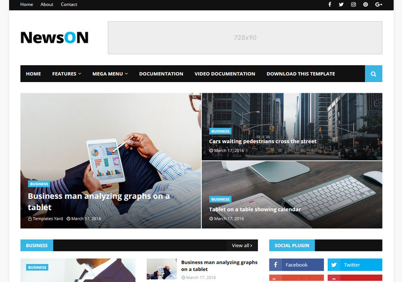 NewsOn Blogger Template is one of the best semi magazine theme with all the latest features like responsive, fast loading, elegant look and seo friendly