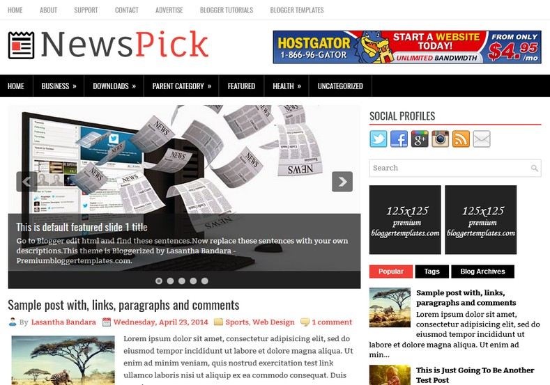 NewsPick Blogger Template. Blogger Themes. Free Blogspot templates for your blogger blog. Best suitable for news blog templates. Ads ready blogspot templates help for add adsense ad code and easily showing adsence ads in your blog. Adapted from WordPress templates are converted from WordPress themes. It is help for take your rich. Blogger magazine template specially designed for magazine blogs. The writers can utilize this themes for take blog attractive to users. Elegant themes are more used themes in most of the blogs. Minimalist blog templates. Free premium blogger themes means, themes authors release two types of themes. One is premium another one is free. Premium templates given for cost but free themes given for no cost. You no need pay From California, USA. $10 USD, or $20 USD and more. But premium buyers get more facilities from authors But free buyers. If you run game or other animation oriented blogs, and you can try with Anime blog templates. Today the world is fashion world. So girls involve to the criteria for make their life fashionable. So we provide fashion blogger themes for make your fashionable. News is most important concept of the world. Download news blogger templates for publishing online news. You can make your blog as online shopping store. Get Online shopping store blogger template to sell your product. Navigation is most important to users find correct place. Download drop down menu, page navigation menu, breadcrumb navigation menu and vertical dropdown menu blogspot themes for free. Google Guide. Blogging tips and Tricks for bloggers. Google bloggers can get blogspot trick and tips for bloggers. Blog templates portfolio professional blogspot themes, You can store your life moments with your blogs with personal pages templates. Video and movie blogs owners get amazing movie blog themes for their blogs. Business templates download. We publish blogger themes for photographers. Photographers easily share photos via photography blog themes. St valentine Christmas Halloween templates. Download Slideshow slider templates for free. Under construction coming soon custom blogspot template. Best beautiful high quality Custom layouts Blog templates from templateism, SoraTemplates, templatetrackers, simple, cute free premium professional unique designs blog themes blogspot themes. Seo ready portfolio anime fashion movie movies health custom layouts best download blogspot themes simple cute free premium professional unique designs xml html code html5.