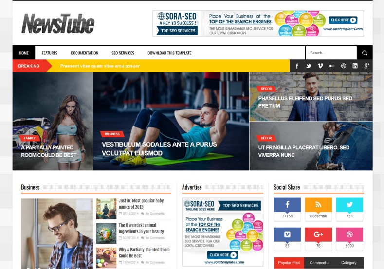 NewsTube Blogger Template. Best free blogger templates for news and magazine blogger blog. Free magazine and news blogger blog. Built or renovate your existing blogger blog with NewsTube Blogger Template.