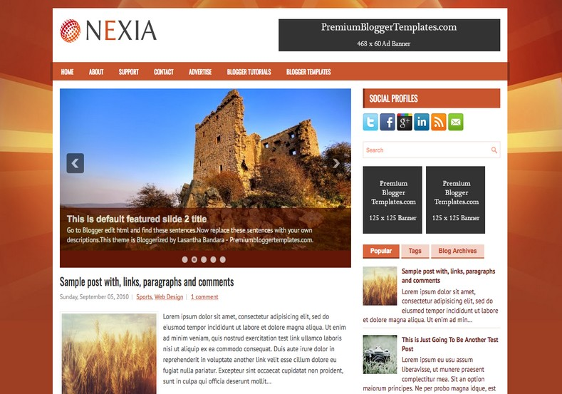 Nexia Blogger Template. Blogger Themes. Free Blogspot templates for your blogger blog. Best suitable for news blog templates. Best Ads ready blogspot templates help for add adsense ad code and easily showing adsence ads in your blog. Adapted from WordPress templates are converted from WordPress themes. It is help for take your rich. Blogger magazine template specially designed for magazine blogs. The writers can utilize this themes for take blog attractive to users. Elegant themes are more used themes in most of the blogs. Use minimalist blog templates for rich look for your blog. Free premium blogger themes means, themes authors release two types of themes. One is premium another one is free. Premium templates given for cost but free themes given for no cost. You no need pay From California, USA. $10 USD, or $20 USD and more. But premium buyers get more facilities from authors But free buyers. If you run game or other animation oriented blogs, and you can try with Anime blog templates. Today the world is fashion world. So girls involve to the criteria for make their life fashionable. So we provide fashion blogger themes for make your fashionable. News is most important concept of the world. Download news blogger templates for publishing online news. You can make your blog as online shopping store. Get Online shopping store blogger template to sell your product. Navigation is most important to users find correct place. Download drop down menu, page navigation menu, breadcrumb navigation menu and vertical dropdown menu blogspot themes for free. Google Guide to blogging tips and tricks for bloggers. Google bloggers can get blogspot trick and tips for bloggers. Blog templates portfolio professional blogspot themes, You can store your life moments with your blogs with personal pages templates. Video and movie blogs owners get amazing movie blog themes for their blogs. Business templates download. We publish blogger themes for photographers. Photographers easily share photos via photography blog themes. St valentine Christmas Halloween templates. Download Slideshow slider templates for free. Under construction coming soon custom blogspot template. Best beautiful high quality Custom layouts Blog templates from templateism, SoraTemplates, templatetrackers, simple, cute free premium professional unique designs blog themes blogspot themes. Seo ready portfolio anime fashion movie movies health custom layouts best download blogspot themes simple cute free premium professional unique designs xml html code html5.