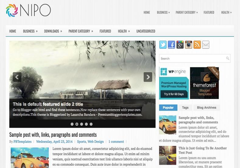 Nipo 2 Columns Blogger Template. Blogger templates 2015. Free blogger templates. blogspot themes
