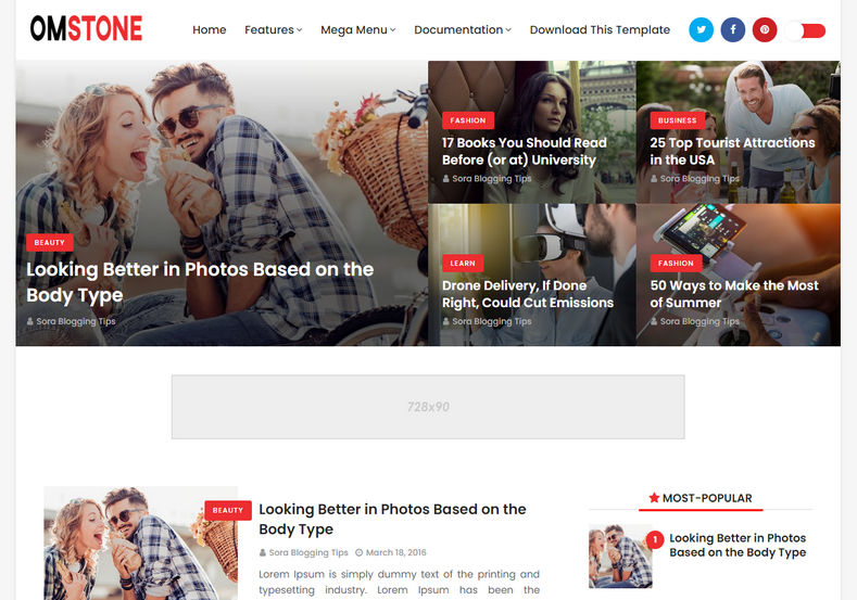 OmStone Blogger Template is a clean looking minimal blogging blogspot theme with appealing design and attractive looks.