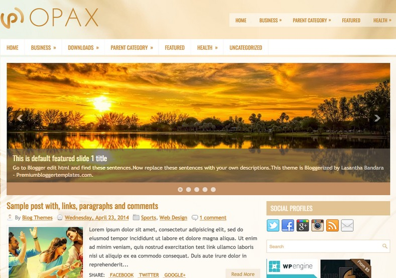 Opax Responsive Blogger Template. 2015 free blogger templates