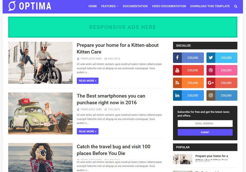 Optima Blogger Template is a simple responsive blogspot theme with very fast loading features and clean look