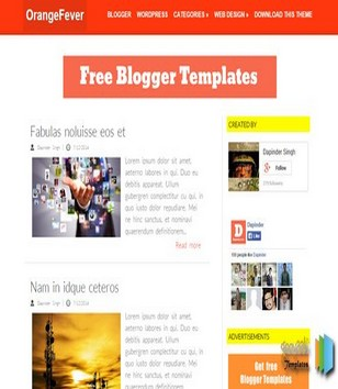 Orange Fever Blogger Templates