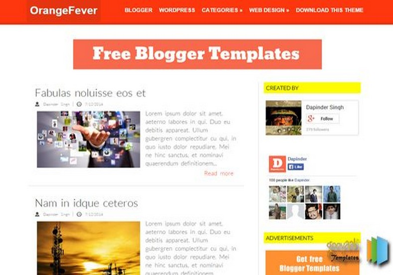 Orange Fever Blogger Template 2015 free blogspot themes