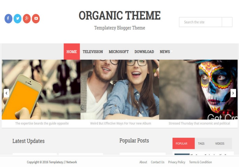 Organic Magazine Blogger Template. Blogger Themes. Free Blogspot templates for your blogger blog. Best suitable for news blog templates. Ads ready blogspot templates help for add adsense ad code and easily showing adsence ads in your blog. Adapted from WordPress templates are converted from WordPress themes. It is help for take your rich. Blogger magazine template specially designed for magazine blogs. The writers can utilize this themes for take blog attractive to users. Elegant themes are more used themes in most of the blogs. Use minimalist blog templates for rich look for your blog. Free premium blogger themes means, themes authors release two types of themes. One is premium another one is free. Premium templates given for cost but free themes given for no cost. You no need pay From California, USA. $10 USD, or $20 USD and more. But premium buyers get more facilities from authors But free buyers. If you run game or other animation oriented blogs, and you can try with Anime blog templates. Today the world is fashion world. So girls involve to the criteria for make their life fashionable. So we provide fashion blogger themes for make your fashionable. News is most important concept of the world. Download news blogger templates for publishing online news. You can make your blog as online shopping store. Get Online shopping store blogger template to sell your product. Navigation is most important to users find correct place. Download drop down menu, page navigation menu, breadcrumb navigation menu and vertical dropdown menu blogspot themes for free. Google Guide to blogging tips and tricks for bloggers. Google bloggers can get blogspot trick and tips for bloggers. Blog templates portfolio professional blogspot themes, You can store your life moments with your blogs with personal pages templates. Video and movie blogs owners get amazing movie blog themes for their blogs. Business templates download. We publish blogger themes for photographers. Photographers easily share photos via photography blog themes. St valentine Christmas Halloween templates. Download Slideshow slider templates for free. Under construction coming soon custom blogspot template. Best beautiful high quality Custom layouts Blog templates from templateism, SoraTemplates, templatetrackers, simple, cute free premium professional unique designs blog themes blogspot themes. Seo ready portfolio anime fashion movie movies health custom layouts best download blogspot themes simple cute free premium professional unique designs xml html code html5.